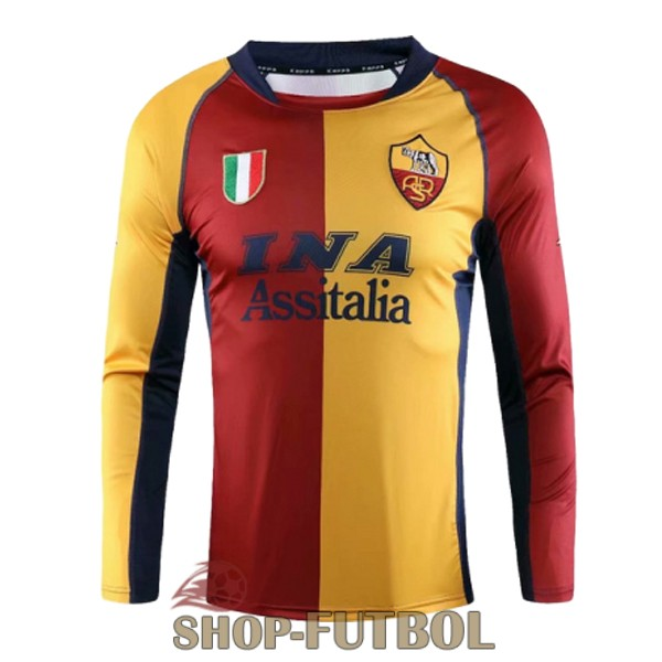 camiseta as roma retro champions manga larga rojo amarillo azul 2001-2002