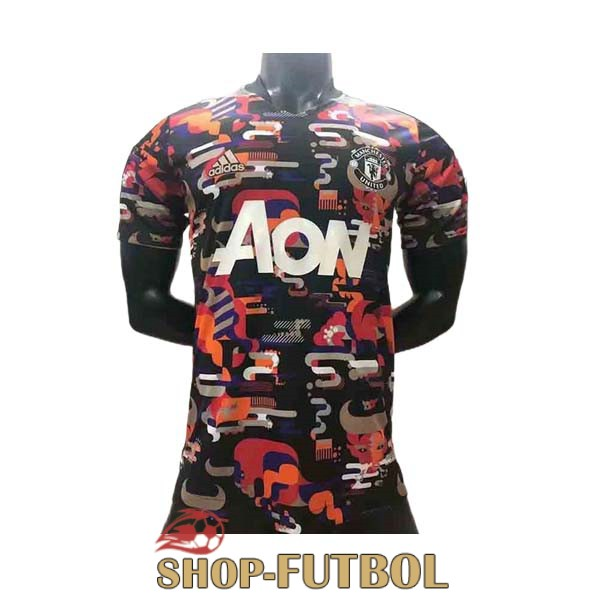 camiseta manchester united entrenamiento version player 2021-2022 camuflaje rojo naranja blanco